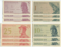 Indonesia N004 1964, 1 + 5 + 10 + 25 Sen, 12 UNC notes with consecutive numbers