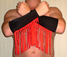 BLACK RED FRINGE SPANDEX PRO WRESTLING GEAR GLOVES