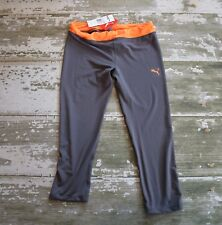 NWT PUMA Girls Orange Gray Cropped Athletic Capris leggings Pants Large 10 12