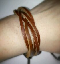 Overlapped Brown Adjustable Leather Bracelet New 5 Five Strand Loosely Braided