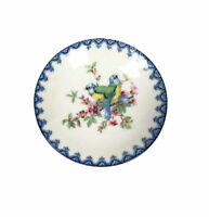 Vtg Small Plate Dish Genuine Porcelain Floral Bird Blue Detail Made in Japan
