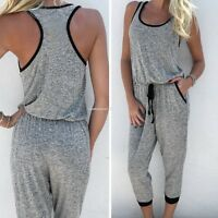 Women Drawstring Long Pants Jumpsuit Romper Sleeveless Playsuit Overall Trousers