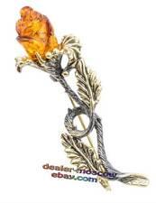 Bronze Solid Brass Baltic Amber Female Ornament Brooch Wild Rose IronWork