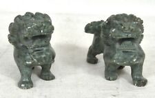 Green Jade Chinese Foo Dog Carved Stone Figures Pair of 2 Vintage
