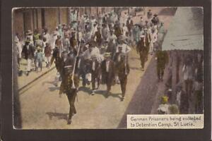 ST.LUCIA. German Prisoners being escorted to Detention Camp, St.Lucia.