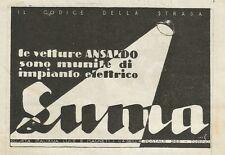 W0956 Impianti elettrici per auto SUMA - Pubblicità 1927 - Advertising