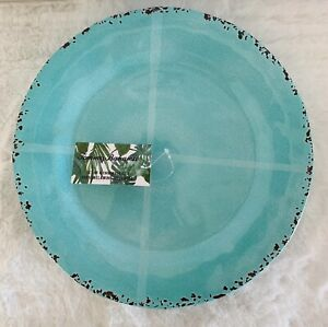 Tommy Bahama Melamine Dinner Plates Set of 4 Turquoise Blue Rustic Crackle NEW