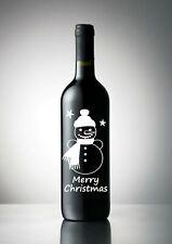 2x Merry Christmas Snowman Vinyl Decal 12 Colours Wine Champagne Bottle Sticker