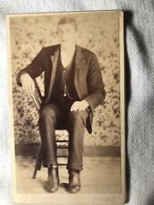 "Rare Unusual & Odd Cabinet Card "" GIANT YOUNG MAN IN CHAIR"""