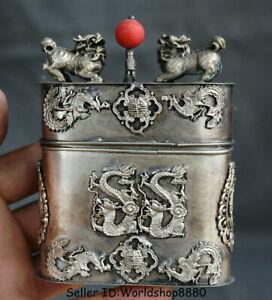 "4.2"" Old China Silver Dynasty Dragon Phoenix Kylin Beast Cigarette box Coccoloba"
