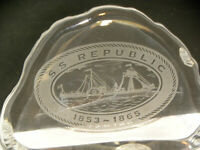 Vintage S. S. Republic glass paperweight engraved ship 1853-1865 Odessy