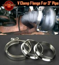 "T304 Stainless V Band Clamp Flange Assembly Kit For Nissan 3"" OD Exhaust Pipe"