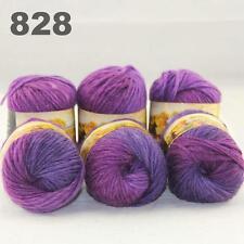Sale LOT 6ballsx50gr NEW Chunky Hand-woven Colors Knitting Rainbow Wool Yarn 828