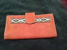 BROWN SUEDE CUERO ARGENTINO BI FOLD WALLET W/ BULL FACE STAMPED ON FRONT