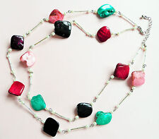 SILVER NECKLACE_LARGE GLASS MOTHER OF PEARL NUGGETS_BEAUTIFUL COLOURS & PEARLS