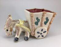 Vintage Donkey Horse Pulling Cart Planter Textured Glaze