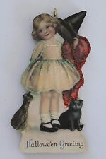 Little Witch Girl and Cat * Halloween Ornament * Vintage Image * Glittered