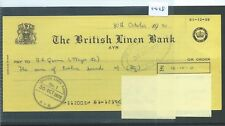 CHEQUE - CH1428 -  USED -1970 - BRITISH LINEN BANK, AYR