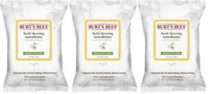 LOT OF 3 - Burt's Bees Facial Cleansing Towelettes Cotton Extract Sensitive Skin