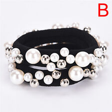 Fashion Rhinestone Crystal Pearl Hair Band Rope Elastic Ponytail Holder Woman *-