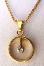Collier pendentif chaîne cz couleur diamant bijou vintage plaqué or rond 4441