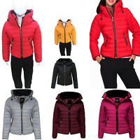 New Womens Kids Ladies Quilted Padded Puffer Bubble Fur Collar Warm Jacket Coat