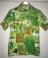 Vintage 1980s Malihini Hawaii Tribal Mens Hawaiian Shirt Size Small  MINT!!