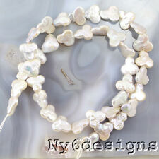 """10x11x4mm  White Freshwater Pearl Flower Beads 15"""" (PE217)a for DIY Jewelry"""