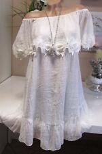 Ibiza Kleid Tunika Grosser Kragen Carmen Häkel-Blüten Hippie Weiß Volant 36-40
