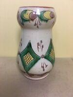 "Vintage Folk Art Terra 8""  Hand Painted Yellow and Green Glazed Vase"