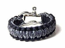 Military Paracord Survival Bracelet Titanium/Black  S/S Shackle Hand Made USA