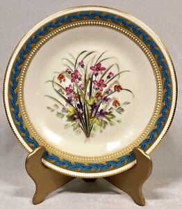 Royal Worcester Kerr & Binns 1862-67 Gilt/Blue Bordered Floral Rack Plate