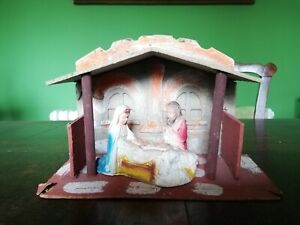 Rare 1940s Nativity Stable And Figures SEARS made Occupied Japan