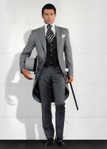 Men's Gray Formal Tailcoat 3 Piece Suit Groom Tuxedos Suit Wedding Suit Custom