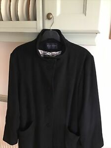 Alexon Ladies 100% Angora Wool Short Coat Black Size 12 Fully Lined VGC