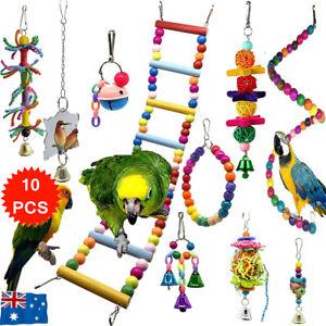 10X Parrot Hanging Swing Bird Toy Harness Cage Ladder Parakeet Cockatiel Hammock