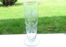 Beautiful Vintage Etched Glass Dad Flower Vase. Fathers Day Gift