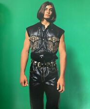 GIANNI VERSACE leather vest w/ metal tips Italian Miami Collection  1993 - New