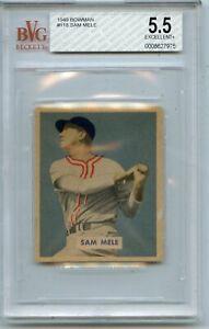 1949 BOWMAN #118 SAM MELE BASEBALL CARD, BOSTON RED SOX, BVG 5.5