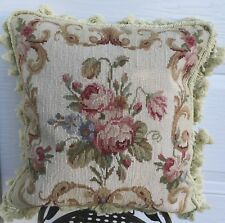 """16"""" x 16"""" Floral Roses Handmade Wool Needlepoint Cushion Cover Pillow Case"""