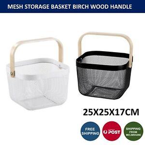 Box Sweden 25x25x17cm Mesh Home Storage Bin Basket Organiser With Wooden Handle