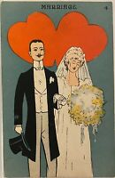 Bride & Groom w Two Large Red Hearts ~ Marriage No. 4 Romance Series Postcard