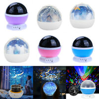 Rotating Projector Starry Night Light LED Lamp Home Decor Kids Valentine's Gifts
