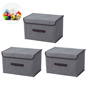3er Set Aufbewahrungsbox Spielkiste mit Deckel Regalkorb Faltkiste 38x 24 x24cm