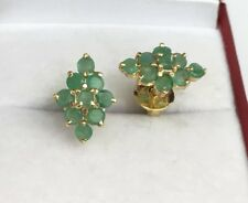 14k Solid Yellow Gold Diamond Shape Stud Earrings, Natural Emerald 2.14 Grams