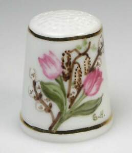 thimble porcelain spring flowers hand painted  new