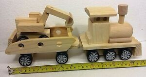 Tractor,  trailer and digger  3 part wooden toy