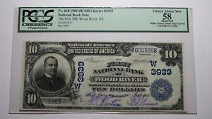 $10 1902 Wood River Nebraska NE National Currency Bank Note Bill #3939 AU58 PCGS