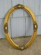 Antique Aesthetic Eastlake Victorian Oval Gold Picture Frame Curved Glass Aged