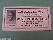 Swedish Massage & Nursing Service Advertising Ink Blotter Chicago suburb vtg #2